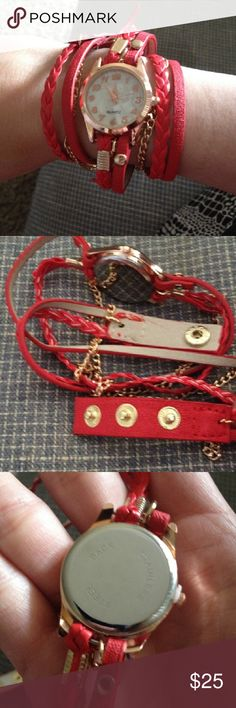 Red Leather Wrap Wrist Watch Never worn Accessories Watches