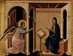 Архангел Гавриил приносит Деве Марии весть о предстоящей кончине (Дуччо, Маэста. деталь)