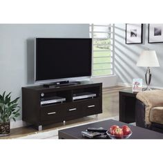 Amazon.com - Monarch Specialties Length TV Console with 3 Drawers, 48-Inch, Cappuccino - Television Stands