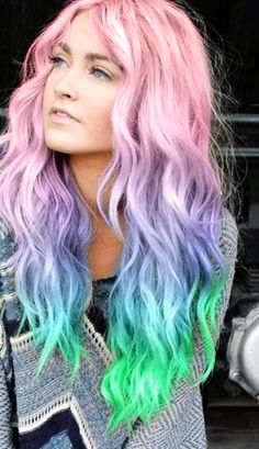 Pink Blue Neon Green, Pastel Rainbow Hair - Hair And Beauty Cute Hair Colors, Beautiful Hair Color, Hair Color Pink, Color Your Hair, Dye My Hair, Cool Hair Color, Pastel Hair Colors, Creative Hair Color, Hair Dye Colors