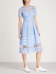 MAJE - Embroidered lace dress   Selfridges.com Black Dress Outfits, Casual Dresses, Fashion Dresses, Summer Dresses, Party Dresses, Best Designer Dresses, Designer Evening Dresses, Kurta Patterns, Day Dresses