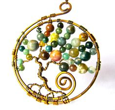 Tree of Life Pendant   Fancy Jasper stone beads by CarrieEastwood, $35.00