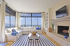 Move Out from Your House to the New House: Stylish Nautical Themed Living Room Interior Decor With Cool White And Blue Striped Rug As Area Rug Center ~ relyme.com Architecture Inspiration