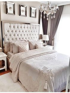 Bedroom decor ideas - By Kelley Nan: Master Bedroom Update- Calming White and neutral master bedroom with tufted ottoman stools, Pottery Barn Tall Lorraine Headboard, Diamond linen quilt and hadley ruched duvet Master Bedroom Design, Dream Bedroom, Home Decor Bedroom, Bedroom Ideas, Bedroom Designs, Master Bedrooms, Diy Bedroom, Neutral Bedrooms, Masculine Bedrooms