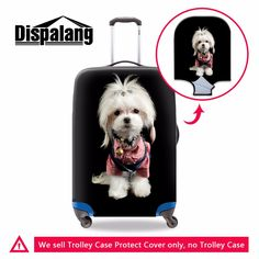 Dispalang pet dog waterproof luggage cover women ladies luggage protector set custom dustproof cover thick trolley case cover