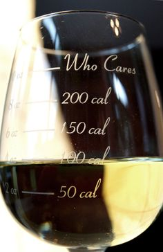 Lol! I'm always past the who cares line. Guess I better pay more attention. The Caloric Cuvee, The Calorie Counting Wine Glass