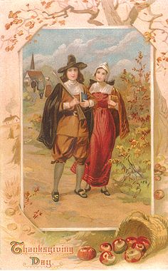 Thanksgiving Pilgrim couple with bibles coming back from church Thanksgiving Greeting Cards, Thanksgiving Blessings, Vintage Thanksgiving, Vintage Holiday, Vintage Halloween, Thanksgiving Graphics, Happy Thanksgiving, Thanksgiving Pictures, Vintage Fall