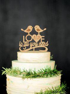 Love Bird Cake Topper Wedding Cake Topper by WeddingRusticDeco