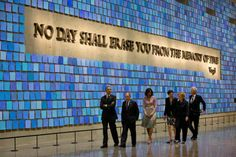 President Obama, First Lady Michelle Obama, former New York City Mayor Michael Bloomberg, former Secretary of State Hillary Rodham Clinton, former President Bill Clinton, and Diana Taylor, tour the Memorial Hall at the National September 11 Memorial Museum
