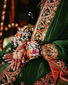 Hand Accessories, Bridal Accessories, Pakistani Bridal Makeup, Green Lehenga, Flower Bracelet, Flower Jewelry, We Are Love, Bridal Photography