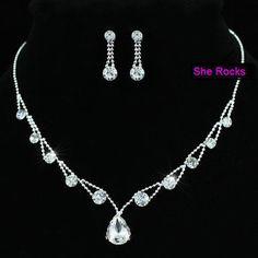 crystal teardrop necklace and earrings set - sherocksbridaljewellery