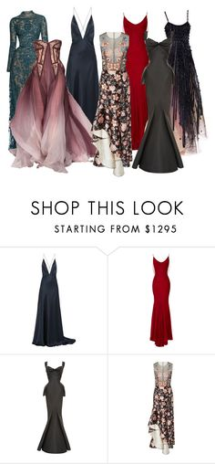 """""""Eddie: Gowns"""" by dottieonthemoon ❤ liked on Polyvore featuring Michael Lo Sordo, Elie Saab, Zac Posen, Armani Privé and Sachin + Babi"""