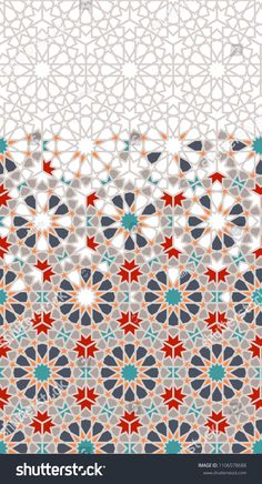 Geometric halftone pattern with colorful arabesque disintegration in traditional Turkish colors. Geometric Patterns, Graphic Patterns, Textures Patterns, Islamic Art Pattern, Arabic Pattern, Halftone Pattern, Pattern Art, Motifs Islamiques, Turkish Pattern