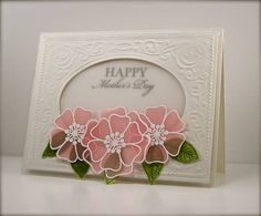 handmade Mother's Day card ... embossing and die cut oval window to inside sentiment ... vellum window ... gorgeous vellum flowers ... pink with white embossing ... delightful!!