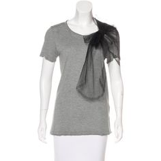 Pre-owned Red Valentino Tulle-Accented T-Shirt ($75) ❤ liked on Polyvore featuring tops, t-shirts, grey, bow t shirt, grey top, red valentino, scoop neck top and short sleeve tops