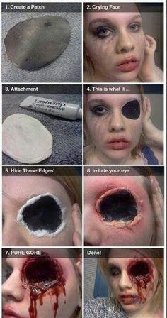 Eyeball fell out of the socket? NBD. halloween makeup halloween costume diy ideas