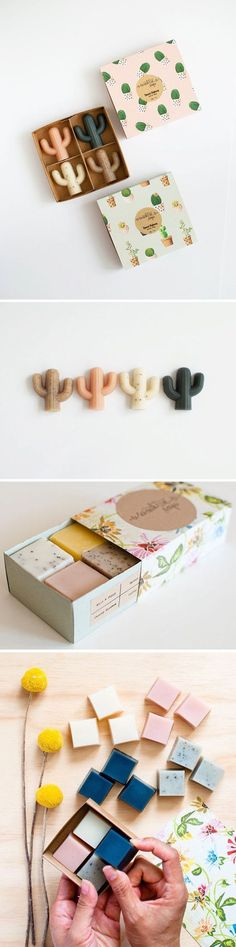 Cactus soaps - 4 petite cactus soaps - Handmade Soap, Cold Processed Soap, Natural, Vegan, Artisan