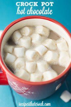 This is the BEST Crock Pot Hot Chocolate recipe! Try this easy hot chocolate recipe once the weather gets cold. Crock Pot Slow Cooker, Crock Pot Cooking, Slow Cooker Recipes, Crockpot Recipes, Cooking Recipes, Crockpot Drinks, Crockpot Dishes, Crock Pot Hot Chocolate Recipe, Hot Chocolate Recipes
