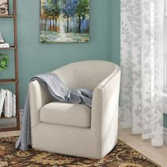 Purchase Brigance Swivel Barrel Chair By Alcott Hill Swivel Barrel Chair, Swivel Armchair, Chair And Ottoman, Tufted Chair, Recliner, Living Room Sets, Living Room Chairs, Living Room Furniture, Dining Room