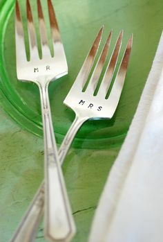 Mr and Mrs Forks for Bride and Groom Place Setting <3