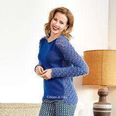 occorrente per fare a maglia la maglia bluette con inserti all'uncinetto