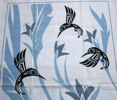 Humming Birds All Cotton Tea Towel Signed Bill Helin Tsimshian Nation Canada