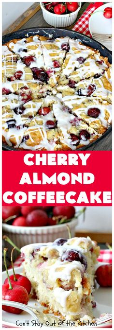 Cherry Almond Coffeecake | Can't Stay Out of the Kitchen | favorite #cherry #coffeecake recipe with #almonds & #coconut. Perfect #breakfast idea for the #FourthofJuly. #dessert