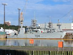 HMCS Shawinigan alongside at Halifax, Nova Scotia on August 2nd, 2016. Shawinigan is a mine countermeasures ship.