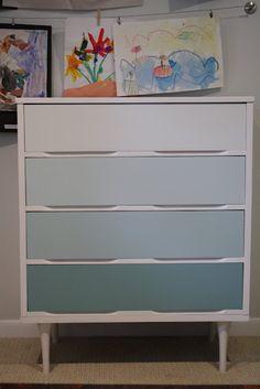 ombre dresser #blue via primitive and proper http://primitiveandproper.blogspot.com/2011/07/piece-of-work-wednesday-furniture-link_19.html