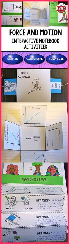 This Interactive Notebook on Force and Motion is packed with activities, foldables, sliders and more to make a fun filled and interesting topic for both you and your students. Science Topics, Science Curriculum, Science Classroom, Science Lessons, Teaching Science, Science Education, Science Ideas, Education College, Life Science