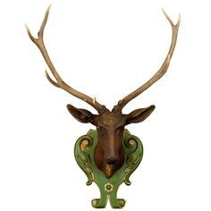 xx..tracy porter..poetic wanderlust...- antique carved wood stag head with huge antlers ca. 1905