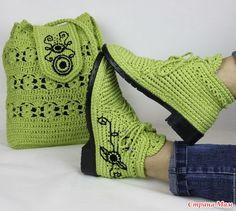 Очень понравилась вязаная обувь, может кто знает- как и из какой пряжи можно это сделать? Их сделала Мадам Сапожок Ксения из ярмарки мастеров.