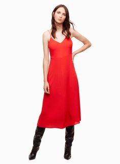 Pair This Red Wilfred Angelique Dress With A Black Moto Jacket And Wear Outfit For Your Valentine S Night Out