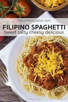 Filipino style spaghetti is unlike any spaghetti youve had before. Its sweet made with banana ketchup topped with a mountain of sharp cheddar cheese and has hotdogs! Easy Filipino Recipes, Greek Recipes, Asian Recipes, Filipino Food, Filipino Dishes, Ethnic Recipes, Orzo Pasta Recipes, Cheesy Pasta Recipes, Pasta Dishes