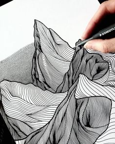 Texture Drawing, Line Drawing, Drawing Tips, Canada Landscape, Mountain Drawing, Pointillism, Pen Art, Art Drawings Sketches, Dress Sketches