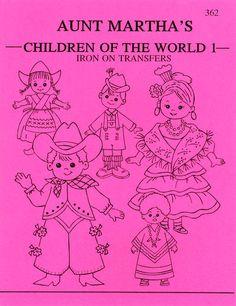 Aunt Martha's Iron-On Transfer Books-Children Of The World