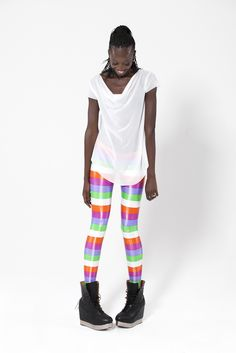 Wet Look Beach Stripe Leggings by Black Milk Clothing