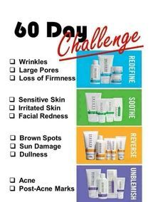 60 day challenge with Rodan and Fields products. Guaranteed or your money back. Products sure to suit your every day needs.