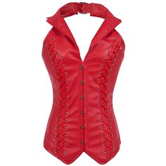 Steel Boned Corsets And Bustiers Red Leather Corset Bustier Halter-neck Gothic Slimming Sexy Corselet Overbust Corpete