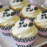 Cupcakes da festa do panda para meninas