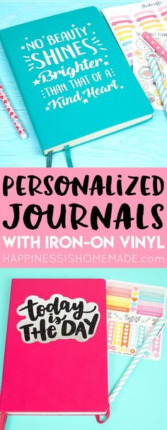 Make your own Personalized Journal using iron-on heat transfer vinyl! It's SO easy and the customization options are endless! via @hiHomemadeBlog
