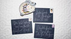 stephanie fishwick calligraphy on blue envelopes