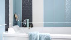 carreaux faience bleu glacier leroy merlin Bath Tiles, Interior Decorating, Interior Design, Loft, Bathtub, Curtains, Mirror, Leroy Merlin, Furniture