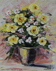 Yellow Rose Painting Pink White Wedding Colors by PaletteKnifeArt