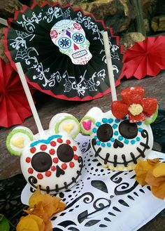 Debuting this year are the Dia de los Muertos apples, which have been decorated in minute detail by our Candy Makers to resemble colorful sugar skulls. These delicious treats have been covered in caramel and white chocolate with sanding sugar elements, chocolate candy pieces and, in some cases, even marshmallow flower accents.