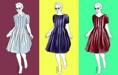 Das Kleid für den A-Figurtyp wird erwachsen, wenn Sie Ausschnittform und Farbe ändern.