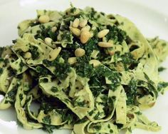 A healthy, kale pesto that works well over pasta or thin strips of yuba.