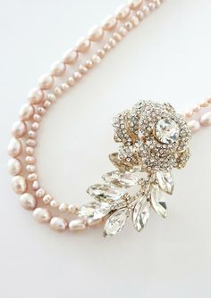 queenbee1924: Rose Gold Crystal Rose and Leaf with Freshwater Pearl Double Strand N…)
