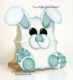 handmade Easter card from Stamp 4 fun with Selene Kempton: gift card or money holder ... punch art bunny ... super adorable!!! ... luv the use of small punched hearts on nose and paw pads ... Stampin' Up!