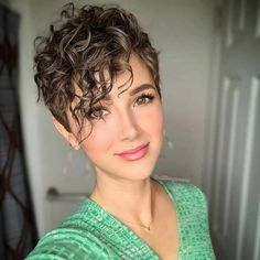 Best Short Pixie Haircut And Color Design For Cool Woman - Short Hair Styles Cute Short Curly Hairstyles, Haircuts For Curly Hair, Short Pixie Haircuts, Curly Hair Cuts, Curly Hair Styles, Cool Hairstyles, Short Curly Pixie, Hairstyles Haircuts, Short Hairstyles For Round Face